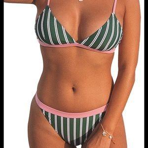 Cupshe Green & White Stripe Triangle Bikini NWT